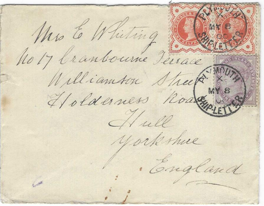 """Spain (Canary Islands) 1900 envelope endorsed """"Posted at Las Palmas"""" and franked Great Britain ½d. pair and 1d. lilac on board but not cancelled so cancelled on arrival with Plymouth Ship Letter cds, Hull arrival backstamp."""