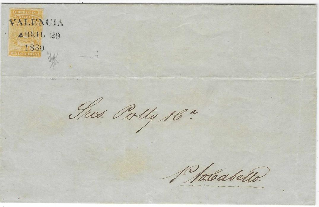 Venezuela 1859 (Abril 20) single weight entire to Puerto Cabello franked coarse impression ½r. yellow with three-line handstamp showing small lettering in month; bottom right margin just touched, otherwise fine and attractive. Brian Moorhouse Certificate. Ex Hubbard & Heister
