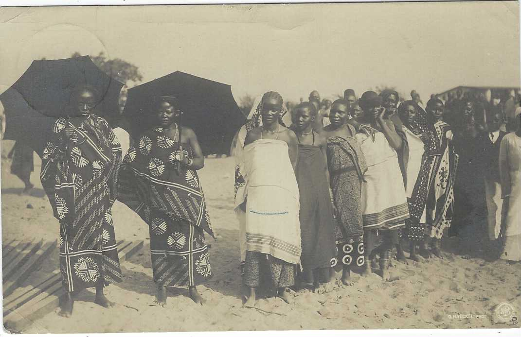 German Colonies (East  Africa) 1908 2½h. Yacht picture stationery card bearing fine photographic image of group of local women, two in foreground with umbrellas, fine cto used with Muanza cds