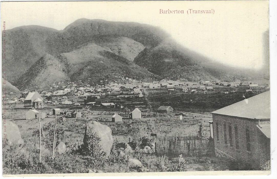 Germany (Picture Stationery) 1900 2pf grey card entitled 'Barberton (Transvaak)'  with general view of town below mountain, a gold rush town from 1880s; very fine unused.