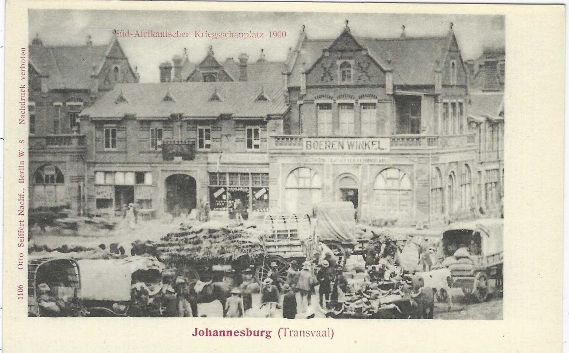 Germany (Picture Stationery) 1900 2pf grey card entitled 'Johannesburg (Transvaal)'  with general view in town; very fine unused.