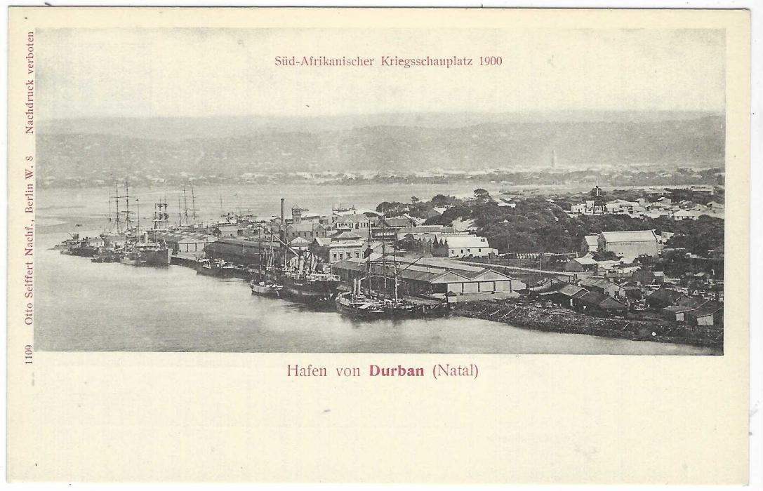 Germany (Picture Stationery) 1900 2pf grey card entitled 'Hafen von Durban (Natal)'  with general view in town with docks; very fine unused.