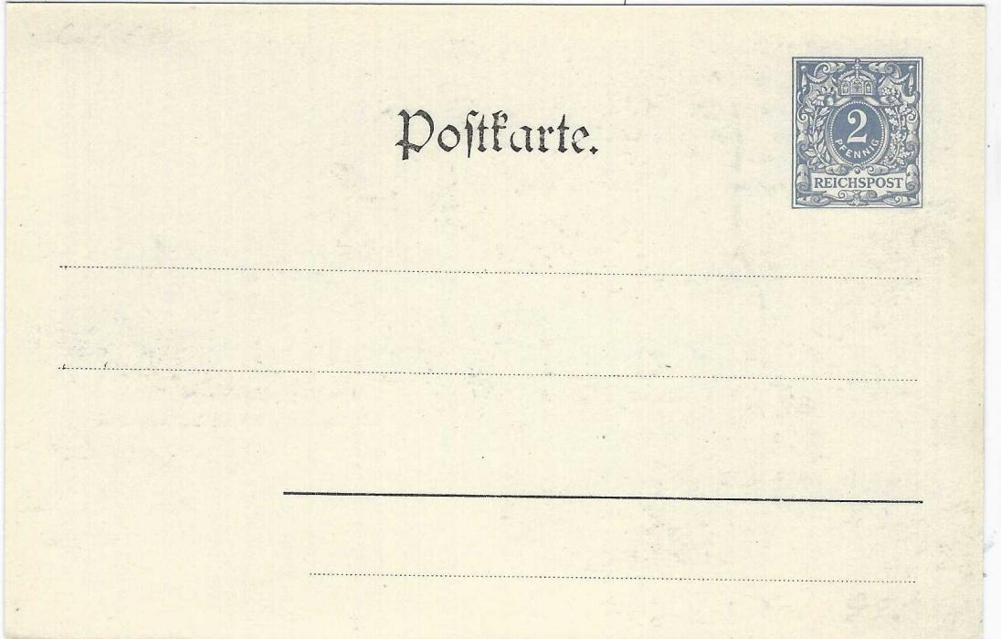 Germany (Picture Stationery) 1900 2pf grey card entitled 'The Weekly Post' and 'Distrikt Zoutspausberg'  with two natives carrying mail, very fine unused.