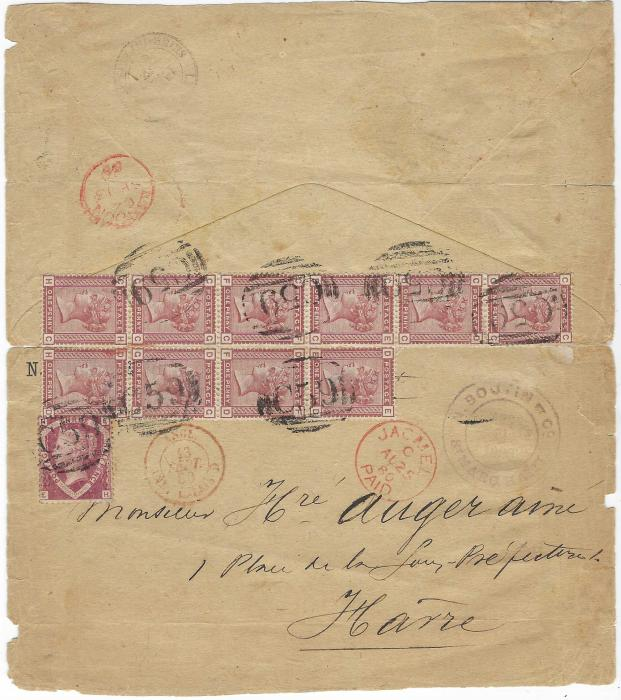 Great Britain  (Haiti) 1880 (AU 25) folded out envelope  to Havre bearing commercial cachet and franked Great Britain 1870 1½d. and ten 1880 1d. Venetian Red in apparent irregular block CC-HD tied by seven clear C59 obliterators, red Jacmel Paid cds, red London transit and French Calais entry cds. The envelope has been opened out for display and has other peripheral faults,  a remarkable franking, one of very few with this many 1d Venetian Reds.