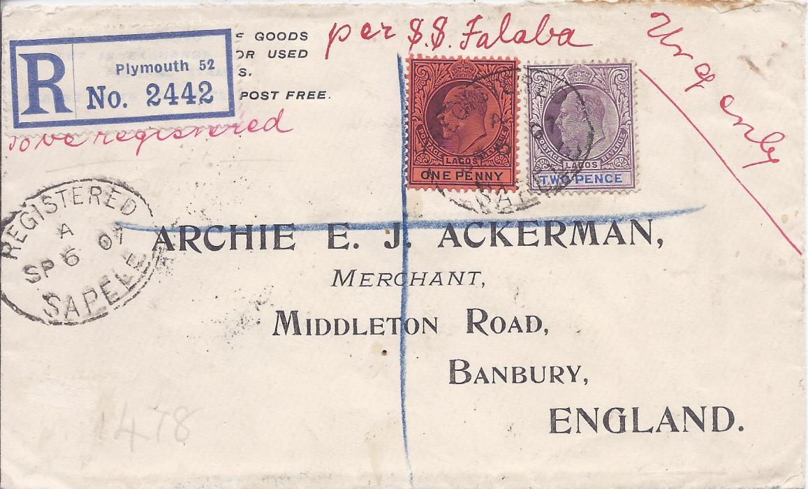 Nigeria (Lagos) 1907 (SP 6) registered printed cover from Sapele (Southern Nigeria) to Banbury, Ackerman correspondence, franked at 3d. rate by 1904-06 1d. and d. tied by Registered/ Sapele oval with another fine strike at left, red manuscript endorsements �to be registered� , �per S.S. Falaba� and �Urgen(t)ly�, Plymouth registration label applied on arrival in England. Some slight faults, a desirable example of the continuing use of Lagos stamps, 19 months after Lagos had been incorporated into Southern Nigeria.