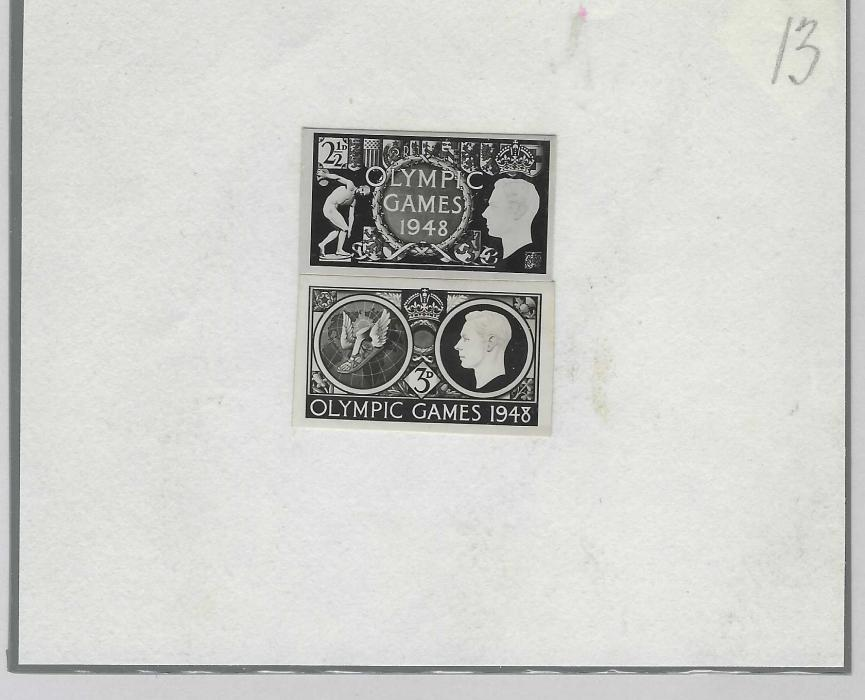 """Great Britain  1948 London Olympics: two stamp size photographic essays of Harold Nelson design, mounted onto card which is numbered """"13"""". Also with letter to Harold Nelson from the G.P.O. Headquarters. Nelson's original design, offered by us as a different item, included a Hammer and Sickle which has now been changed as the Soviet Union were no longer going to be invited to the Games. Unique group."""