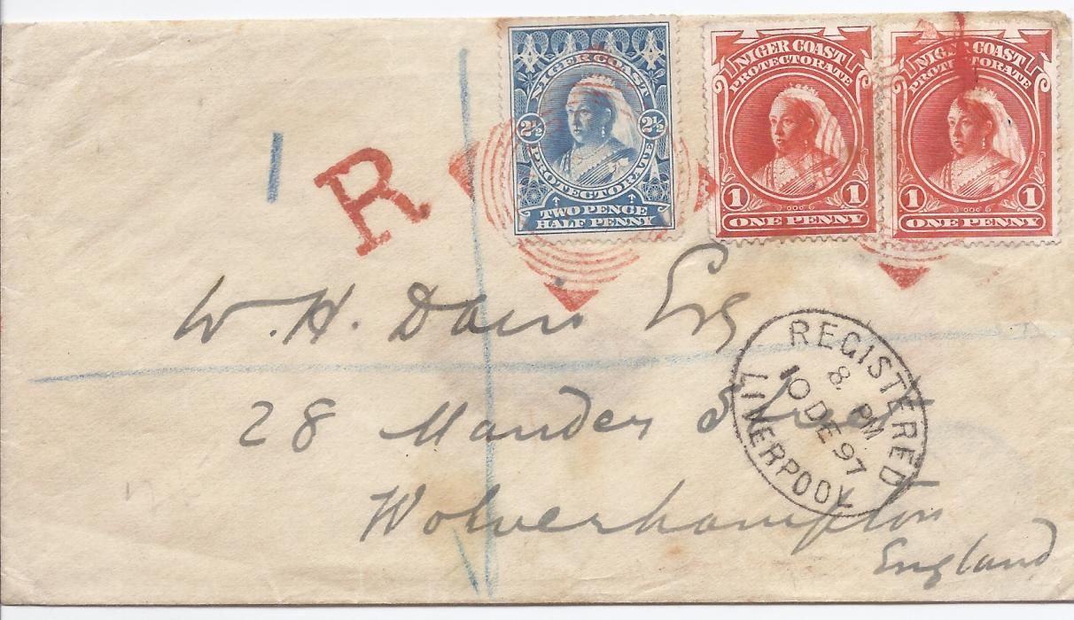 Niger Coast 1897 (NO 12) registered cover to Wolverhampton franked 1d. (2) and 2½d. tied by red square circle Warri date stamp, 'R' handstamp to left, oval Liverpool transit below, reverse with another fine despatch date stamp and arrival cds. The wax seal on reverse is from Customs House Warri.