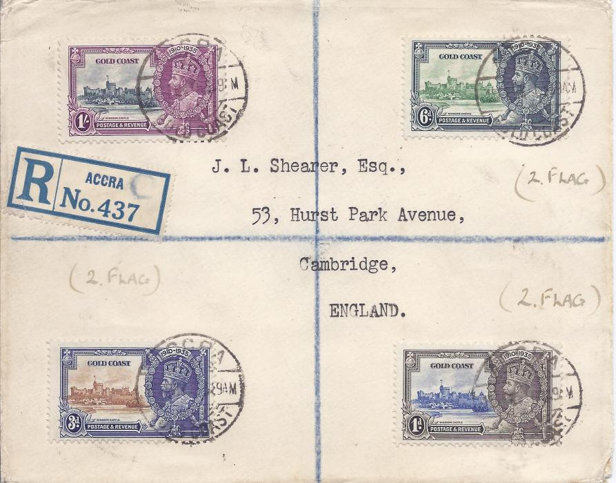 Gold Coast 1936 registered cover to England franked 1935 Silver Jubilee set of four, the 1d., 3d. and 6d. each showing variety �extra flagstaff�. Each stamp tied Accra cds. Unfortunately someone has added in pen (2.Flag) by each variety.