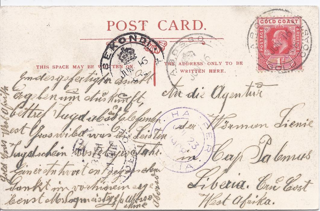 Gold Coast 1908 (JUN 16) picture postcard to Liberia franked 1d. tied Abosso Gold Coast crown double-ring cds, Sekondi transit to left, Monrovia Liberia transit of JUL 17 and Harper Liberia cds of JUL 23; fine condition.