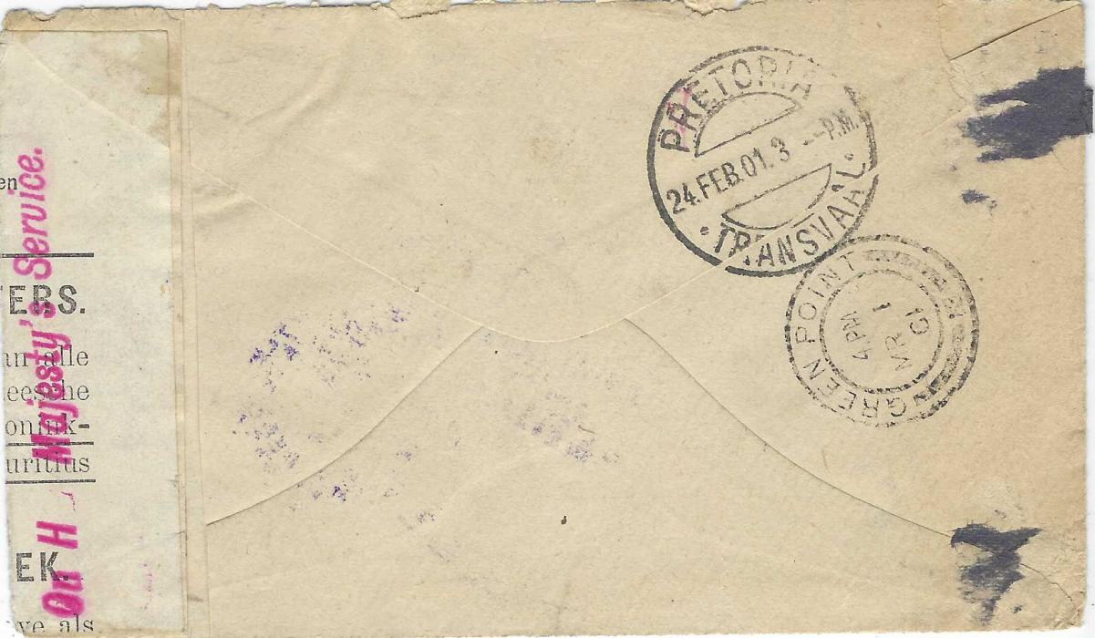 """South Africa (Boer War) 1901 (19 Feb) cover from Barberton to Green Point Camp, franked with Transvaal 1900 1d. rose-red and green overprinted 'V.R.I.', addressed to the elusive """"Mr A Gunning/ Tent No.14 (Transvaales)/ Greenpoint, Cape Town"""", censored on departure with large double-lined violet oval 'Burgher Camp/ Barberton' with """"censored"""" and initials at centre, sent via Pretoria (24.2.) to Green Point Camp (1.3.) where it was censored on arrival, redirected north to Ladysmith camp where it was again censored and rectangular 'PASSED/ S.O.P NATAL/ CENSOR/ P. of W.' and triangular 'PASSED/CENSOR P. OF W.' Applied, from there sent to Diyatalawa Camp CEYLON where three separate censors have applied their violet oval handstamp. One censor en route has improvised some tape handstamping it 'On H Majesty's Service' (folded out for display). An extraordinary redirected cover, showing eight censor marks on face, having travelled through FOUR camps. Remarkable and probably unique."""