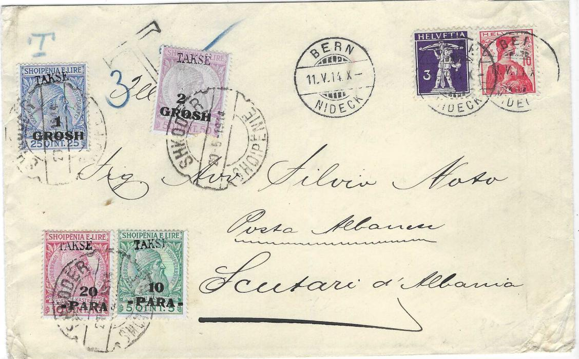 """ALBANIA 1914 (11.V.) incoming cover from Bern, Switzerland bearing  3c. violet and 10c. red, underfranked with small blue manuscript """"T"""", larger black local handstamp part overstruck by one of the four 'TAKSE' overprinted surcharge postage dues cancelled by Shkoder cds of 20.5.1914; some corner bumps to envelope and light central vertical filing crease, scarce cover."""