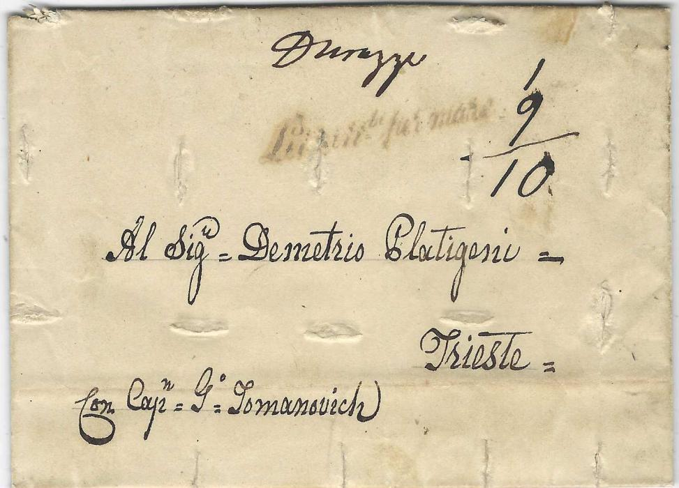 """ALBANIA (Disinfected Mail) 1842 entire written to Trieste, posted from Durazzo (in manuscript at top) with straight-line """"Lettere di per mare"""" below, disinfected on at arrival at Trieste quarantine station by series of small slits, red arrival backstamp."""