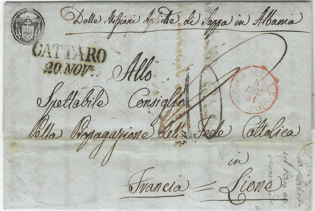 ALBANIA 1851 religious entire from Sappa with endorsement at top together with small, fine negative handstamp, to Lyons, France bearing two-line CATTARO date stamp, '10' charge handstamp  and red French entry cds; fine appearance.