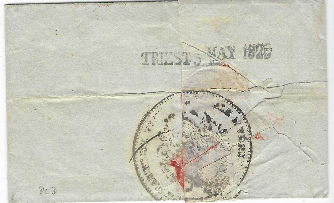 ALBANIA 1825 (April 25) entire from Scutari to Trieste struck with straight-line LEVANTE handstamp (Muller 1923a = 210 points) in red applied on arrival, reverse with straight-line arrival. A rare cancellation in red, the cover illustrated in 'Die Osterreichische Post in der Levante' (page 210). Ex Werner Schindler.
