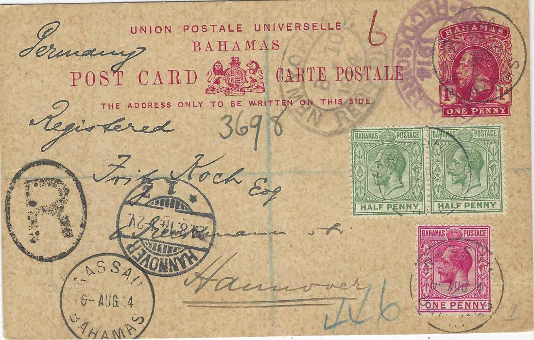 Bahamas 1914 (6 Aug) 1d. postal stationery card registered to Hannover additionally franked ½d. (2) and 1d. tied Nassau cds, manuscript registration and 'R' handstamp, oval New York transits front and back, arrival cds towards bottom left; fine condition.