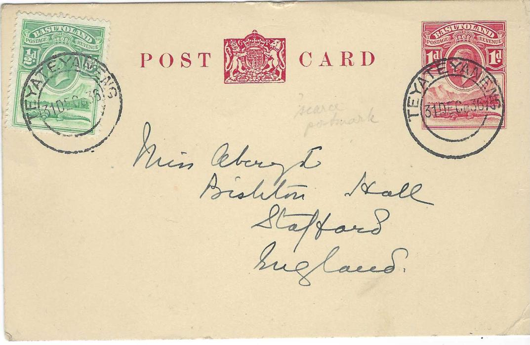 Basutoland 1936 1d. postal stationery card to Stafford, England, additionally franked ½d., each image tied scarce Teyateyaneng date stamp; some corner bumps.