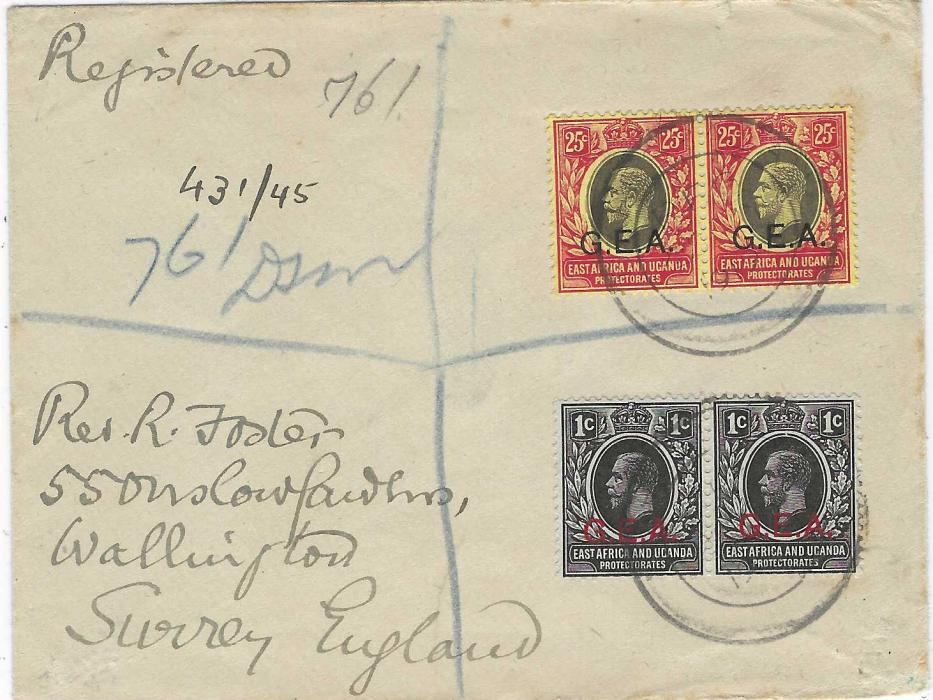 Tanganyika (British Occupation of German East Africa) 1919 registered cover to England franked  1917-21 pairs of 1c. and 25c. tied unclear date stamps, manuscript registration, London registered backstamp.