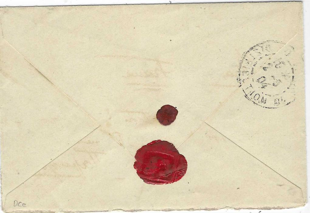 """Thailand (French Occupation) 1904 (2 Fevr) stampless envelope to Paris, endorsed """"detachment du Siam"""" bearing large bluish double-ring handstamp 'DETACHEMENT D'OCCUPATION DE CHANTABOUN * SIAM *',to left with Saigon Cochinchine Corps Expd cds with inverted centre, arrival backstamp of 2.5.; fine and rare."""