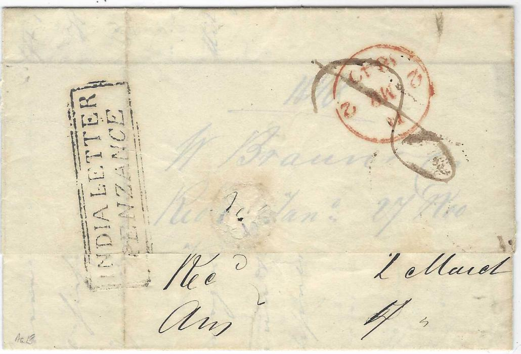 """Brazil 1839 (27 Nov.) entire from Rio de Janeiro to London, endorsed """"Pr Ganges"""" with, on reverse, fine boxed INDIA LETTER/ PENZANCE handstamp, red London arrival (2 MR). A rare India Letter marking on a letter from Brazil, the handstamp over the flap and torn on opening and priced accordingly."""