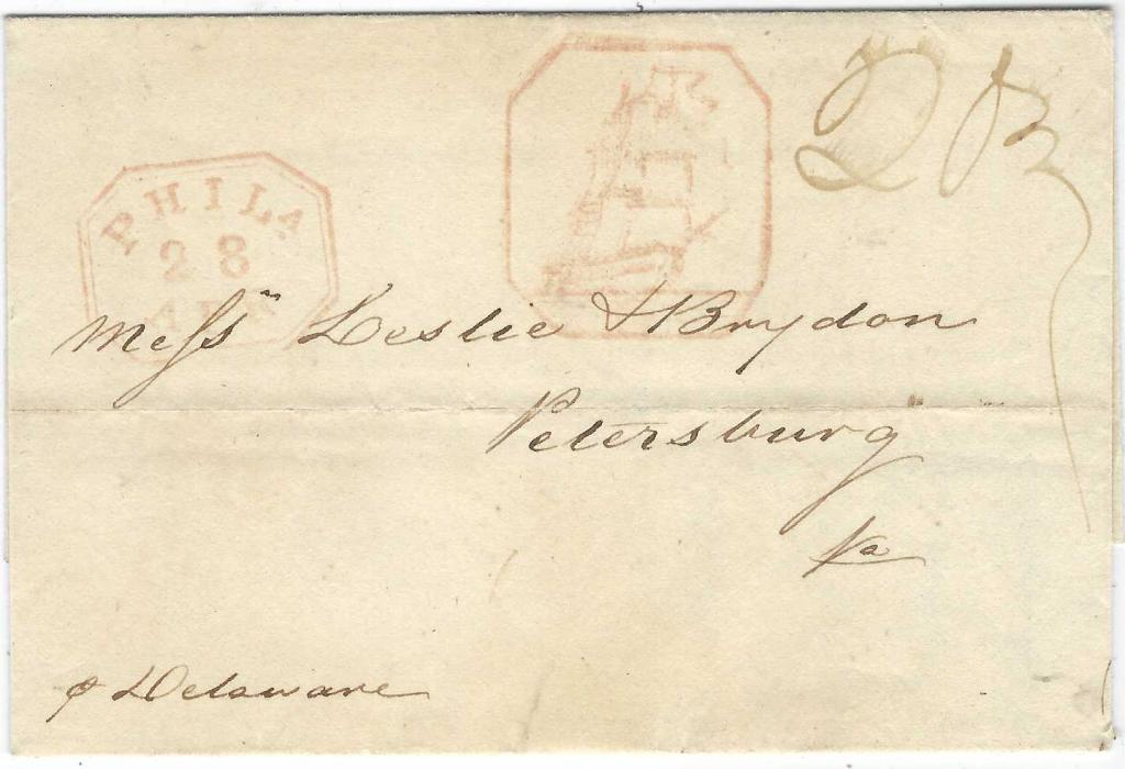 """Danish West Indies 1835 (4 April) outer letter sheet docketed as originating at St Thomas to Petersburg, VA bearing a fine example of the rare Philadelphia Full-Rigged Ship Handstamp in red, to left ornate double line framed PHILA/ 28/ APR handstamp and at right manuscript """"20¾"""" rating (2c ship fee and 18¾c. domestic postage}."""