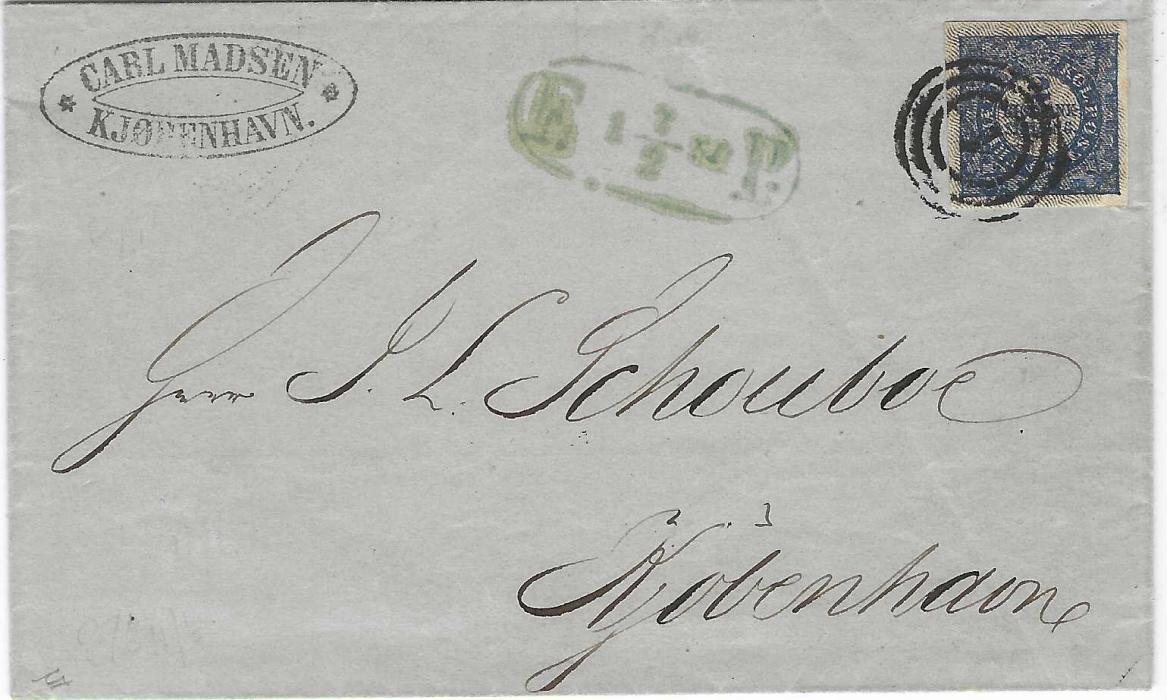 Denmark 1854 local Copenhagen outer letter sheet bearing 1852 2s blue Thiele print, large even margins on all sides, plate 1, No. 57 type I, tied by clear three-ring '1' numeral and bluish 'F 1 7/2 54 P' handstamp alongside. A very fine example with Kaiser and Nielsen certificates.