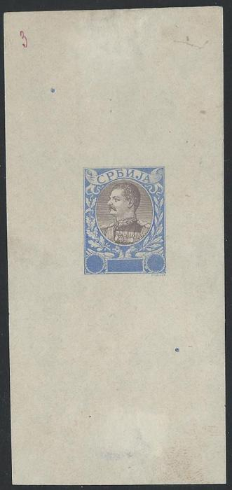 "SERBIA 1903, E.Mouchon retouched proof pale blue & black, numbered in manuscript ""3""