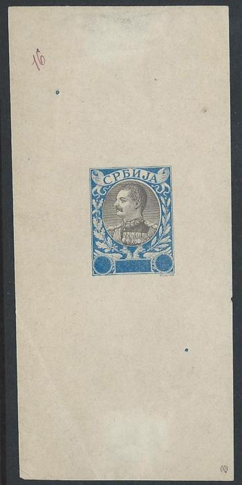 "SERBIA 1903, E.Mouchon retouched proof blue & black, numbered in manuscript ""16""
