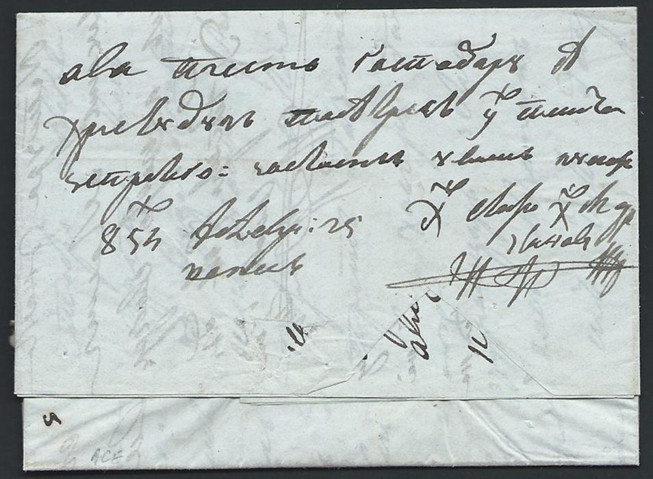 Serbia 1854 Letter sent from Veles-Macedonia via Serbia to Pest-Hungary taken by the couriers and transferred on entry to the Serbian postal system at Aleksinac where was straight line transit mark applied, alongside Aleksinac quarantine station negative handstamp. Rare