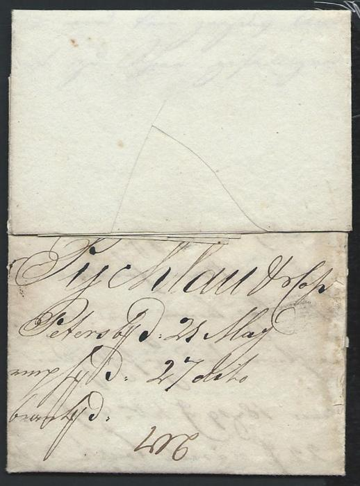 Russia  1807 entire to Riga bearing straight line ST.PETERSBOURG handstamp that usually shows the point after ST. at base as opposed to half way up. Good example of this scarce cancel