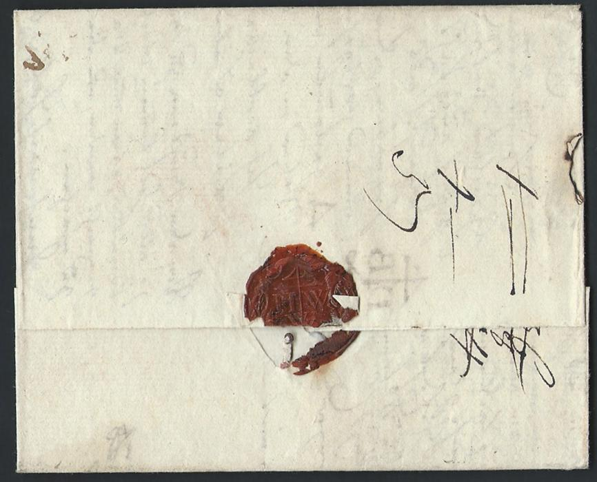 Russia  1780 Entire to Herrnhut, Germany bearing straight line ST.PETERSBOVRG handstamp. various manuscript rate markings. Fine and clean condition of this scarce cancel.