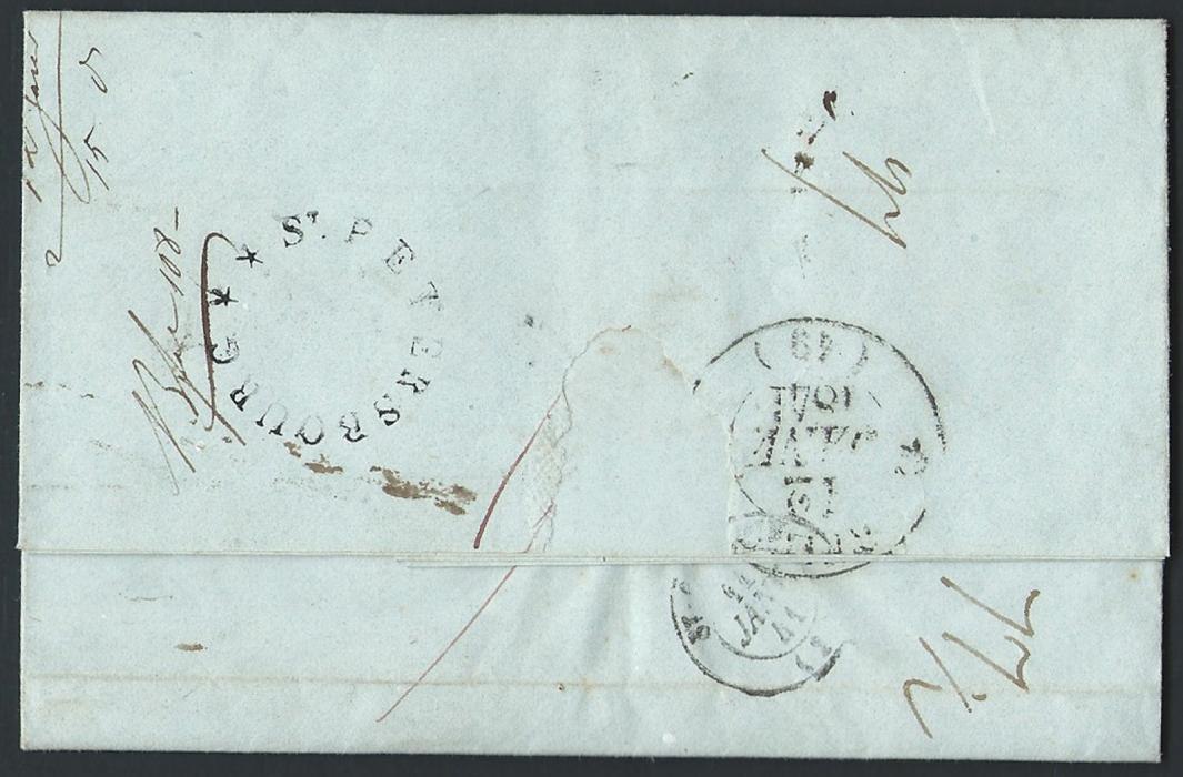 Russia  1840, 19/31 December,  entire sent to Bordeaux-France cancelled at the back with extremely RARE black with two stars without frame and date in French ST.PETERSBOURG (Dobin not recorded, Baillie&Peel - Type 1F(F)1). Only three other covers reported with this rare handstamp used from Dec. 1840 and January 1841.