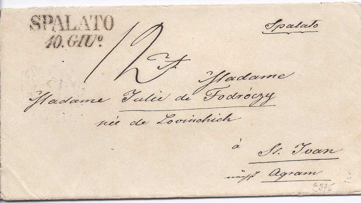 Austria 1846 cover to St Juan bearing two-line Spalato date stamp, Agram transit backstamp. With enclosed letter that bears a fine printed image of the port. Small part of backflap missing and opened-out for display.