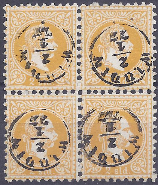 Austrian Levant (Bulgaria) 1867 2 soldi yellow-orange block of four each stamp cancelled by thimble 'Widdin' cds, a very fine and rare multiple with this cancel. Albert Matl Certificate.