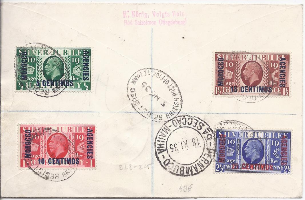 Morocco Agencies 1935 (5 Nov) registered cover to Recife, Brazil, franked two Silver Jubilee sets and pair 1p. on 10d. tied oval Tetuan date stamps, red flight cachet at centre, arrival backstamp.