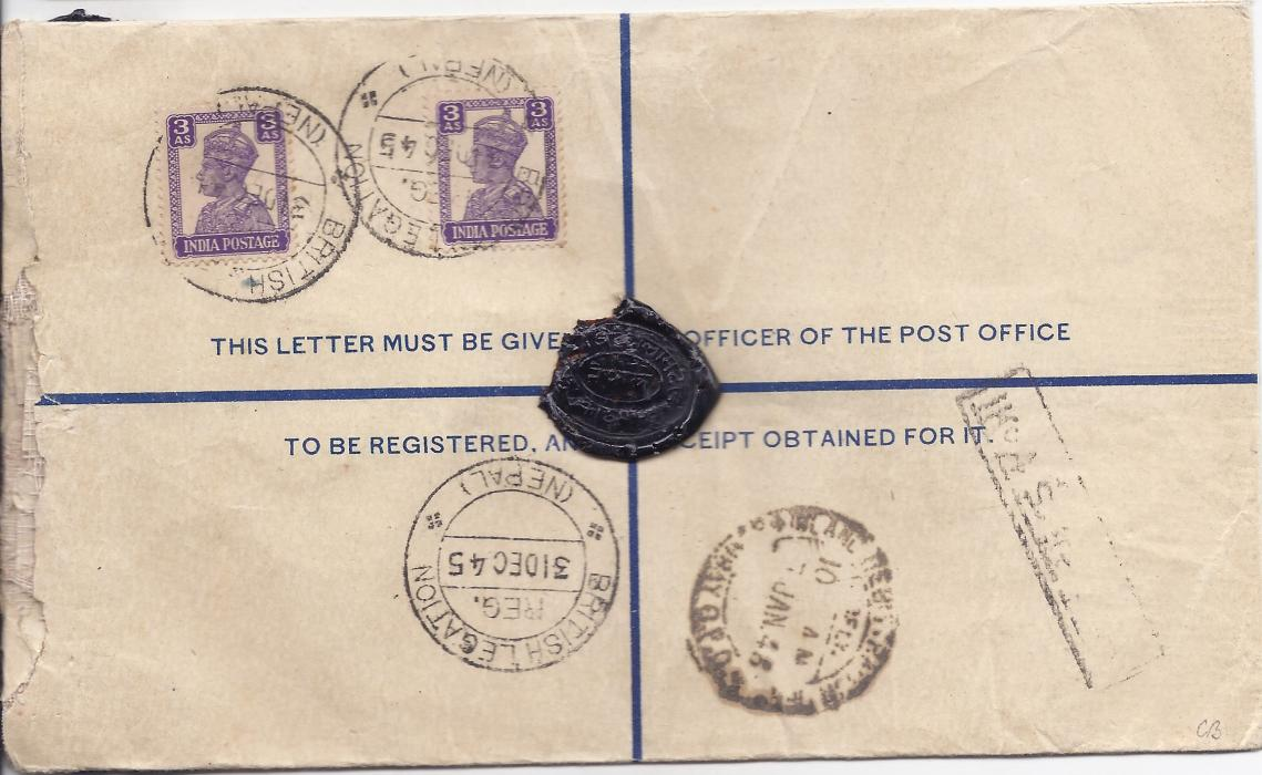 Nepal 1945 registered stationery envelope uprated with two 3a., insured for Rs. 100 to Bombay, British Legation (Nepal) cds, front bearing two-line registration handstamp.