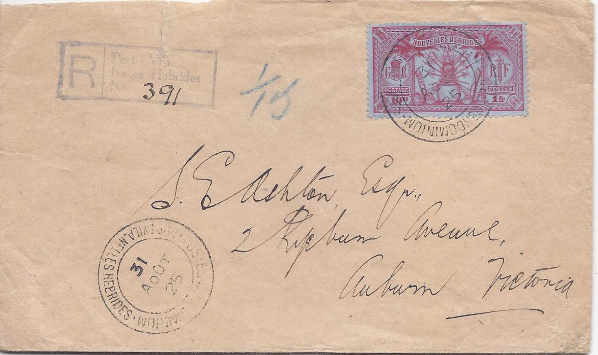 New Hebrides 1925 (31 Aout) registered cover to Australia bearing single franking 10d. 1fr. tied Port Vila cds, handstamped registration cachet with manuscript number, reverse with Sydney and Melbourne transits plus Hawthorn arrival.