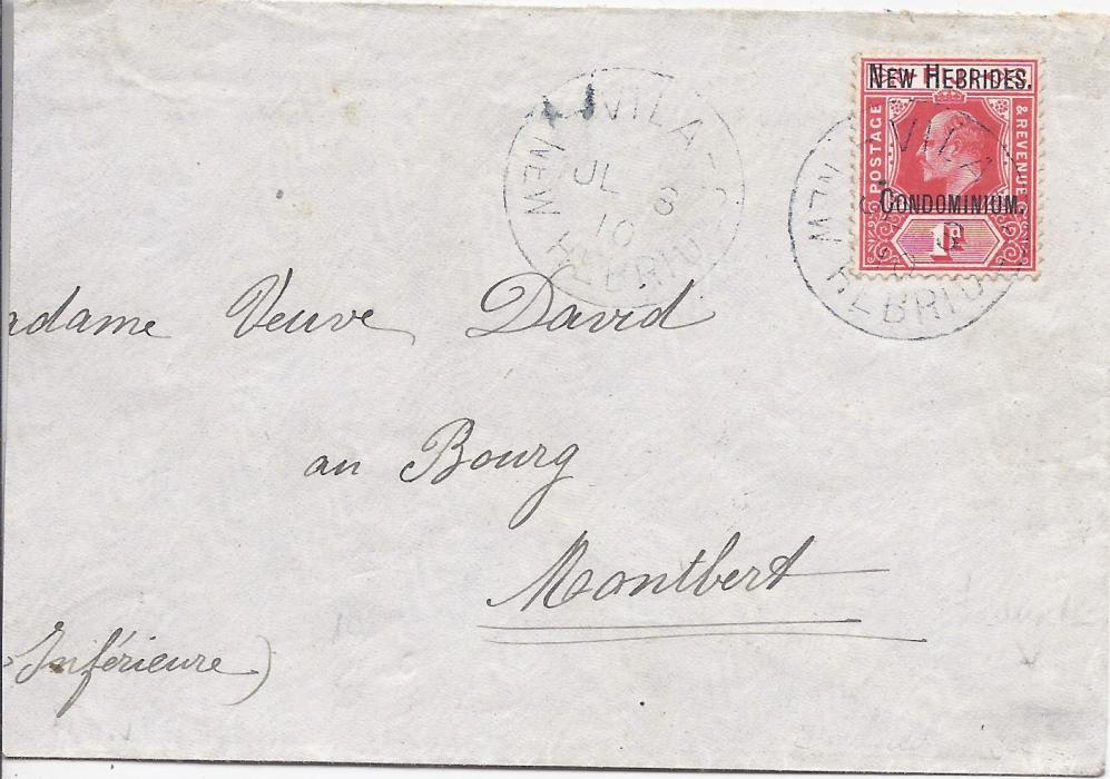 New Hebrides 1910 cover to France bearing overprinted 1d Fiji tied Vila cds with another strike alongside, reverse with Sydney machine transit and arrival cds; envelope slightly reduced at side.