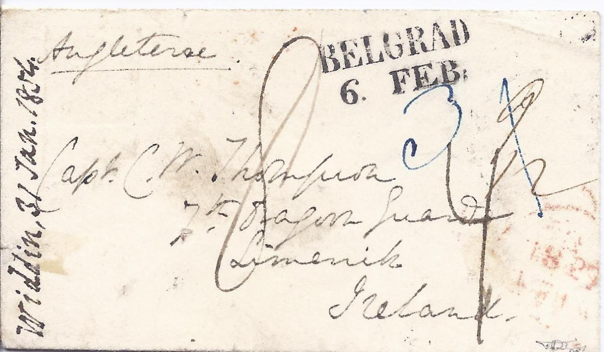Austrian Levant 1854 cover to Limerick, Ireland, carried privately from Widdin, Bulgaria and put into the Austrian Post Office at Belgrade, Serbia, with two-line Belgrad date stamp, various manuscript markings on front, reverse with Semlin transit, London and Liverpool transits and Limerick arrival cds. Disinfected at Semlin with good strike, albeit overstruck with Netto Di Fuora E Sporco Di Dentro.Fine and rare cover, F. Puschmann certificate.