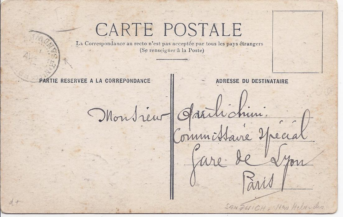 New Hebrides c.1900 picture postcard from New Caledonia to Paris, franked 5c. on picture side, cancelled by Nlles Hebrides Sandwich cds that is repeated more clearly on reverse