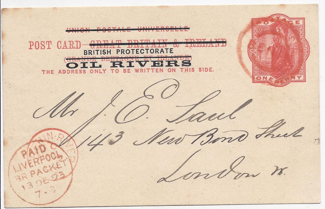 Nigeria Oil Rivers 1893 1d. postal stationery card to London cancelled by double ring Benin cancel, Benin River cds bottom left overstruck Paid Liverpool Br. Packet cds; fine and striking with full message.
