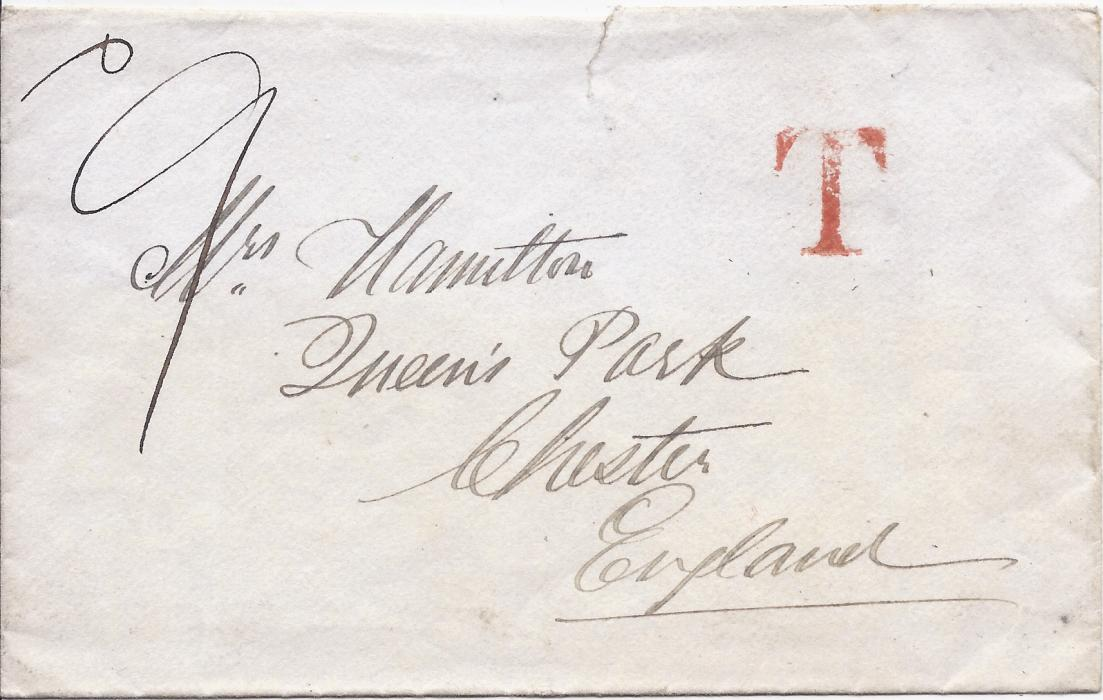 Nigeria 1878 cover without provenance to Chester, England, unfranked  and bearing red �T� handstamp, manuscript charge at top left, reverse with Liverpool Br Packet cds