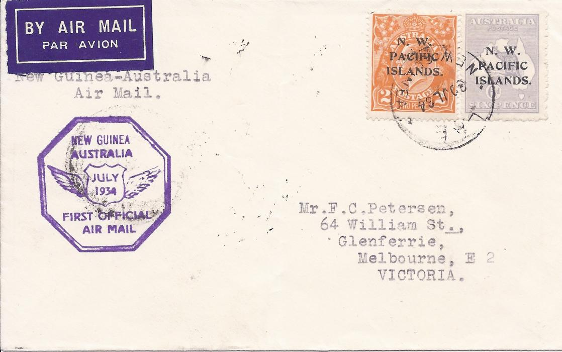 New Guinea 1934 (30 JL) airmail cover to Melbourne franked N.W. Pacific Islands overprinted 2d. and 6d. tied Lae cds, first flight cachet at left, arrival backstamp of 1 August.