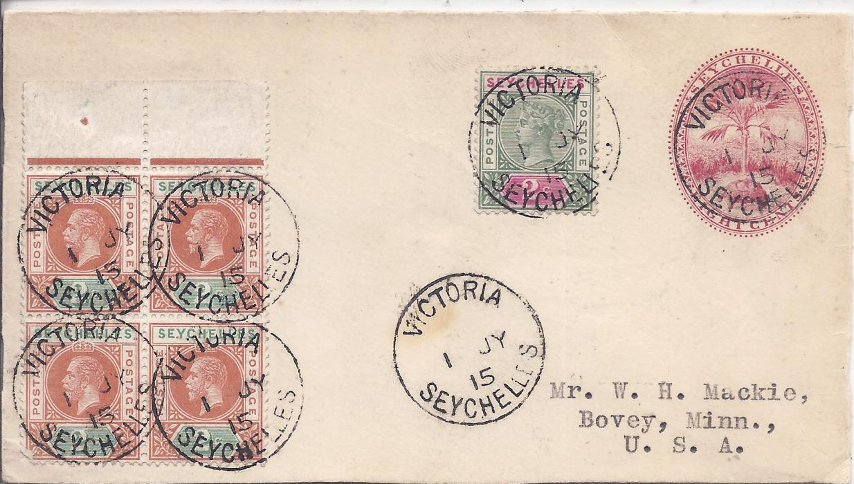 Seychelles 1915 (1 JY) 6c. Turtle stationery envelope to USA uprated Victoria 2c. and George V 2c. marginal block of for, tied Victoria cds; attractive