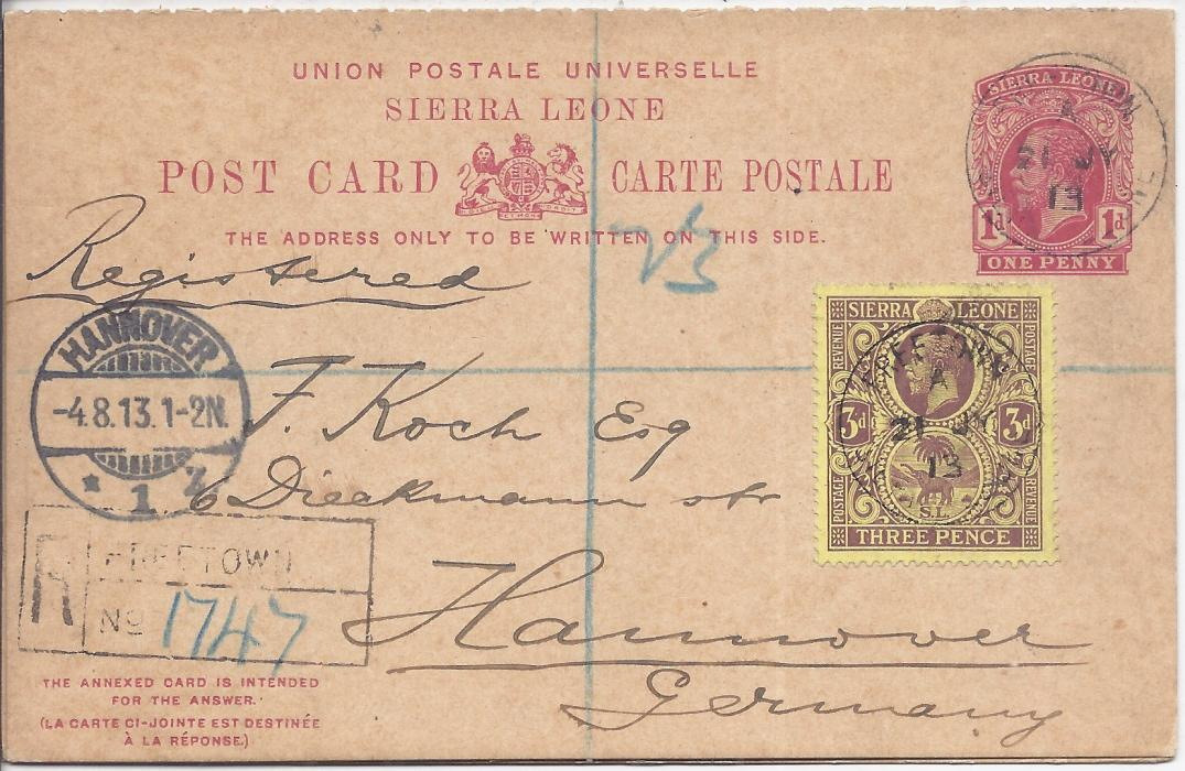 Sierra Leone 1913 1d. reply postal stationery envelope, registered to Hannover, Germany and uprated with 3d., Freetown despatch cancels and handstamped registration, arrival cancel at left, reverse with London transit. Card still intact with short greetings message, reply section not used.