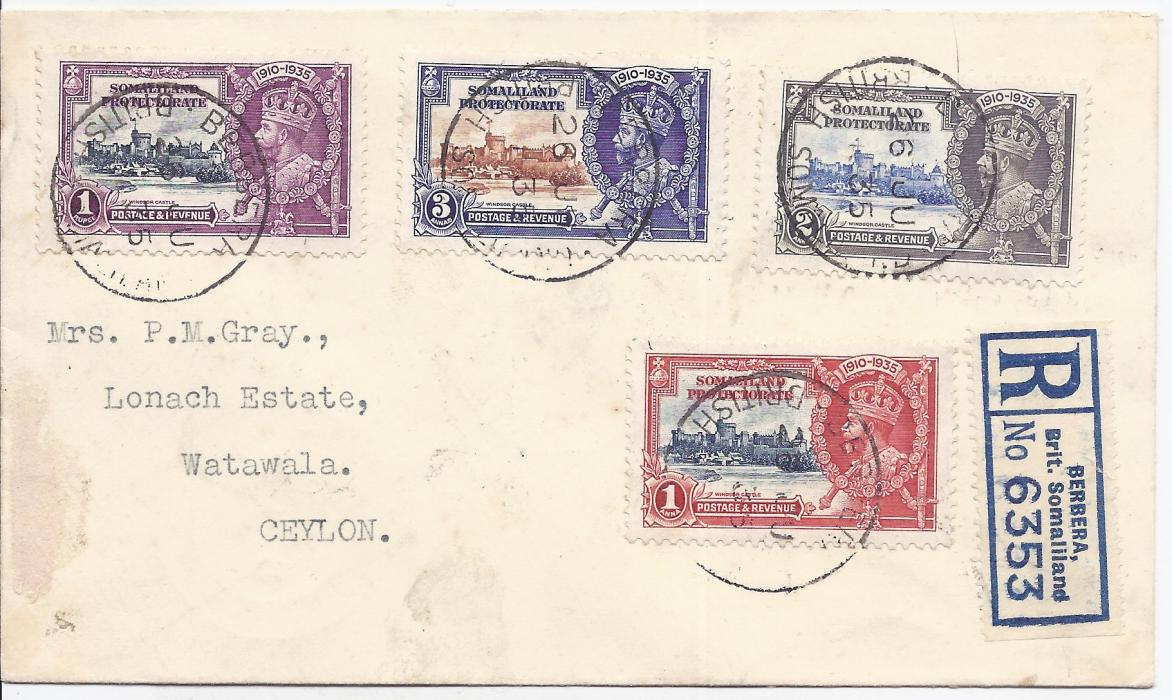 Somaliland Protectorate 1935 (26 JU) registered cover bearing Silver Jubilee set of four, the 2a. showing variety 'kite and vertical log' cancelled with Berbera cds, to Ceylon with Aden and Colombo transits and Watawala arrival cds
