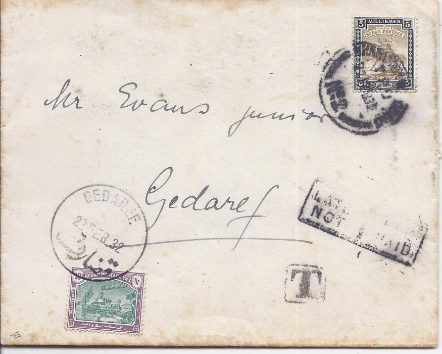 Sudan 1932 cover from Khartoum to Gedaref franked 5m., Late Fee No Paid handstamp and framed T handstamp, 10m. Postage Due applied at bottom left with Gedarfe cds; some slight toning, scarce postage due cover.