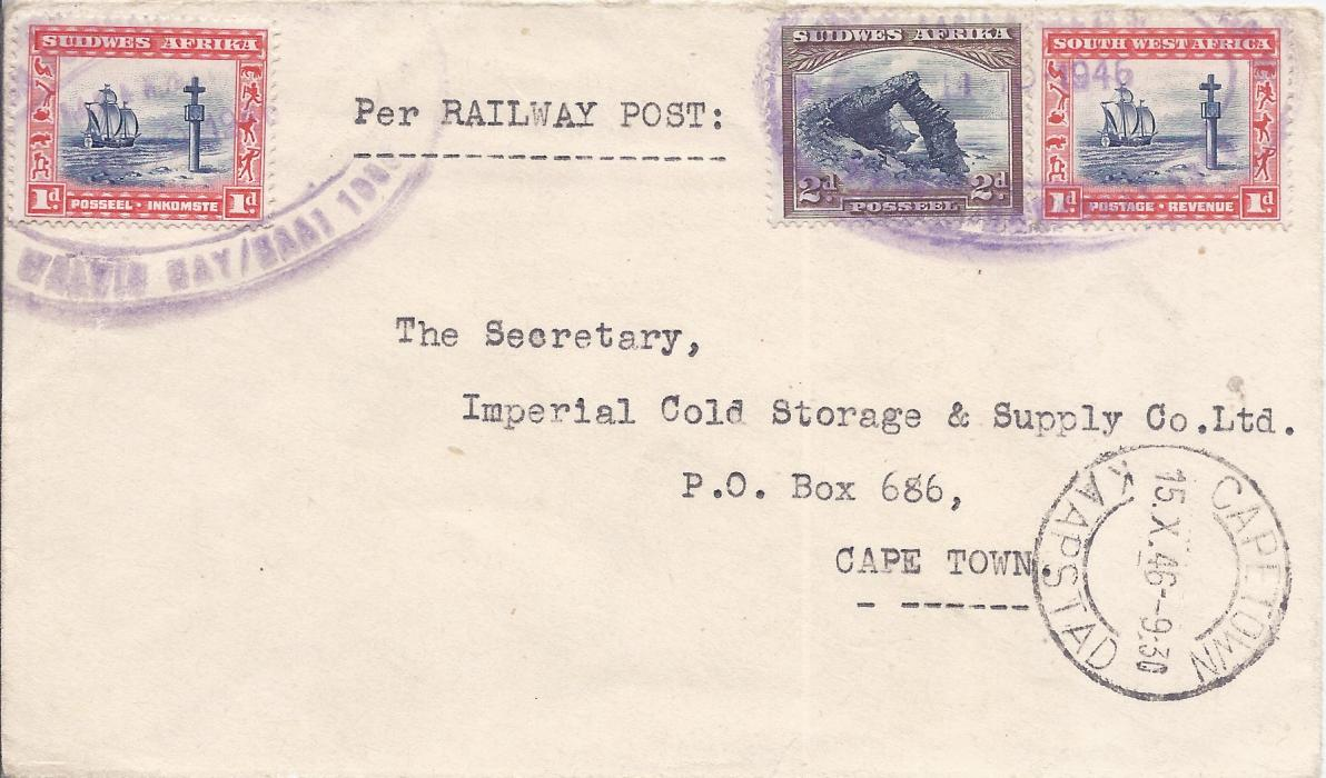 South West Africa 1946 Walvis Bay to Cape Town cover franked 1d. (2) and 2d. tied by two large double oval violet railway cancels with a clearer full strike on reverse.