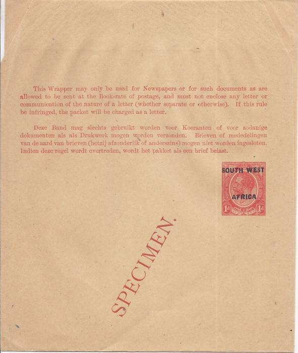 South West Africa 1923 1d. English overprinted postal stationery wrapper bearing diagonal SPECIMEN overprint in red. Very fine condition.