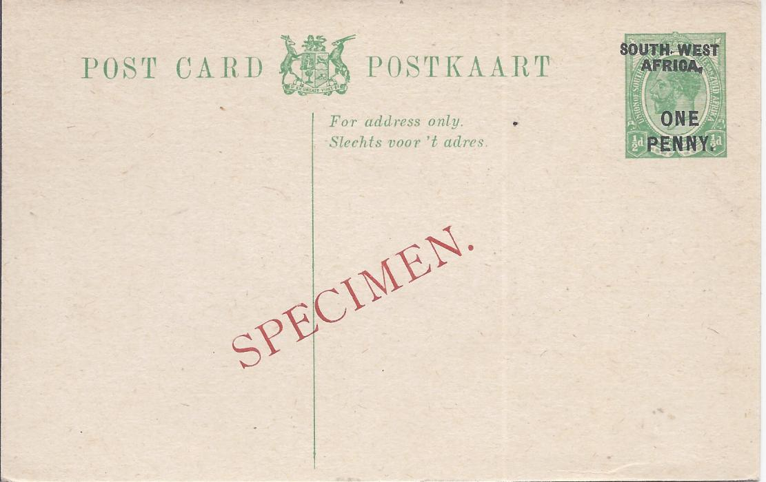 South West Africa 1923 ONE PENNY on 1/2d. English overprinted postal stationery card bearing diagonal SPECIMEN overprint in red. Very fine condition.