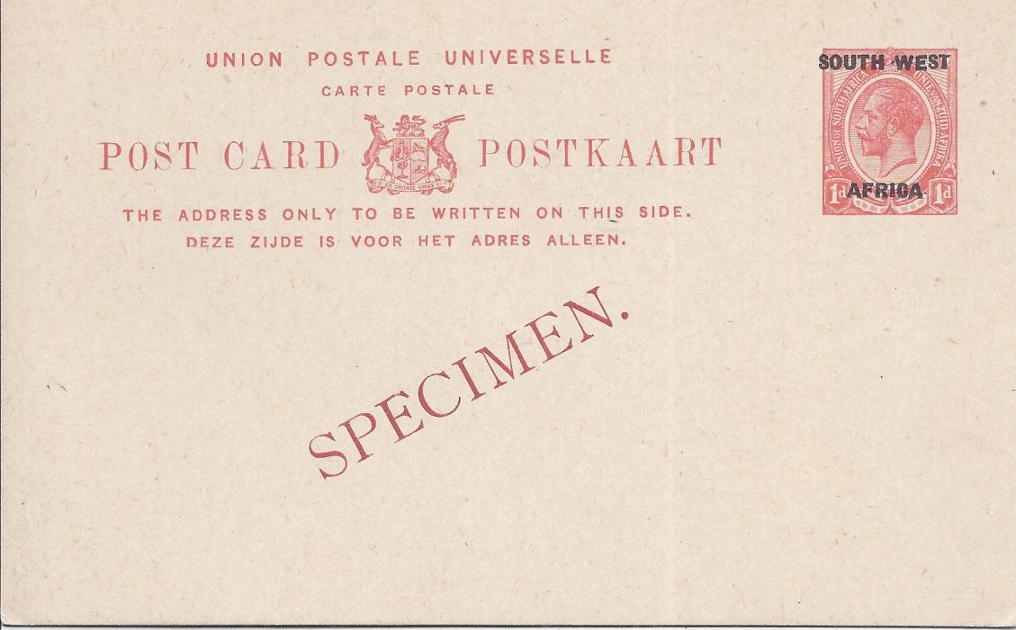 South West Africa 1923 1d. English overprinted postal stationery card bearing diagonal SPECIMEN overprint in red. Very fine condition.